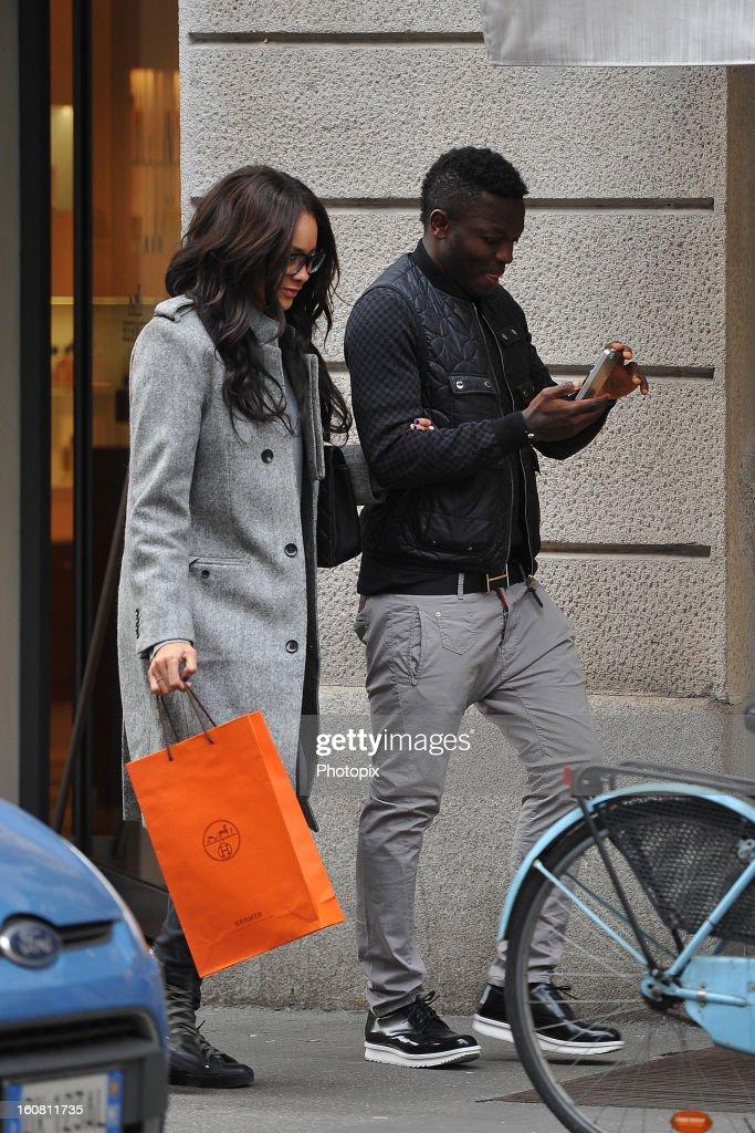 Menaye Donkir Muntari and Sulley Muntari are seen on February 6, 2013 in Milan, Italy.
