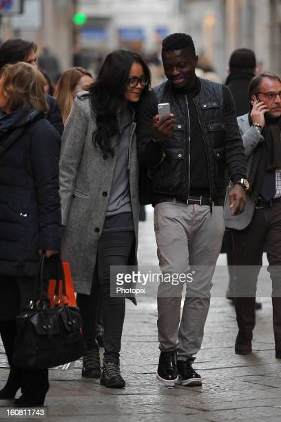 Menaye Donkir Muntari and Sulley Muntari are seen on February 6 2013 in Milan Italy