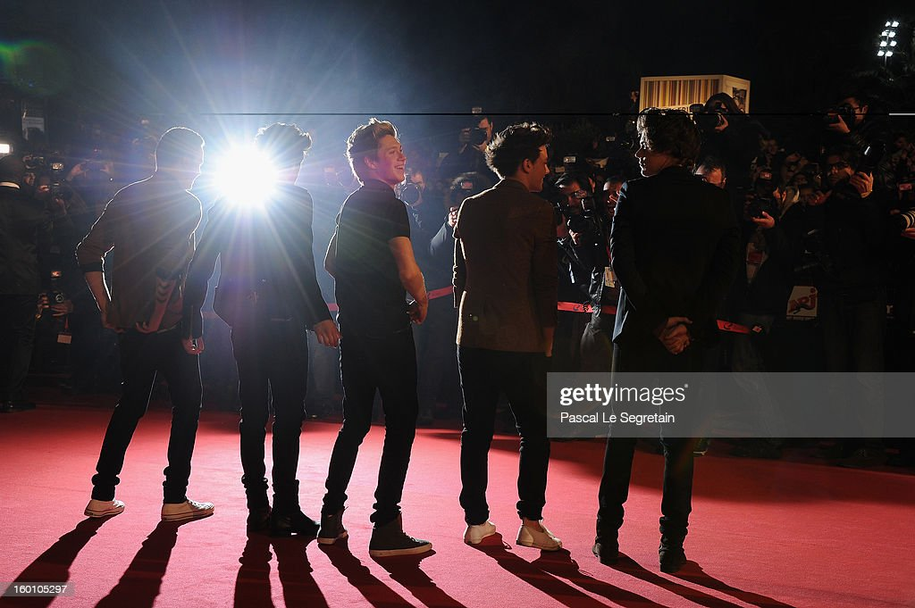 Menbers of band 'One Direction' attend the NRJ Music Awards 2013 at Palais des Festivals on January 26, 2013 in Cannes, France.
