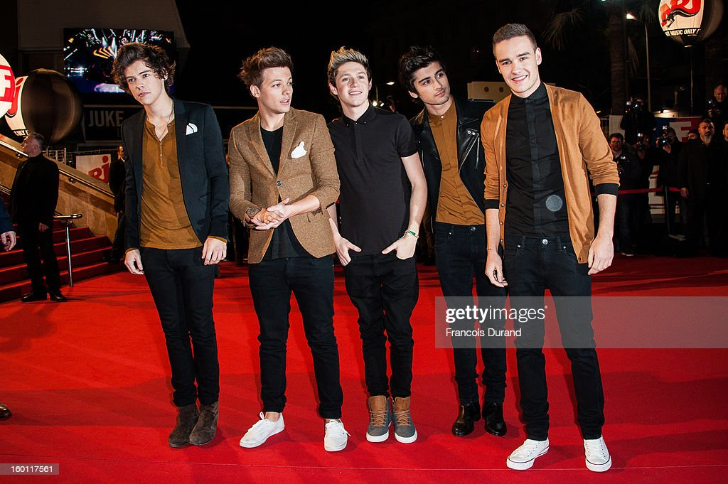 Menbers of band 'One Direction' Harry Styles, Louis Tomlinson, Niall Horan, Zayn Malik and Liam Payne attend the NRJ Music Awards 2013 at Palais des Festivals on January 26, 2013 in Cannes, France.