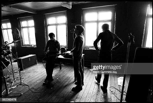 Menbers of rock group Joy Division at TJ Davidson's rehearsal room Little Peter Street Manchester 19th August 1979 Left to right bassist Peter Hook...