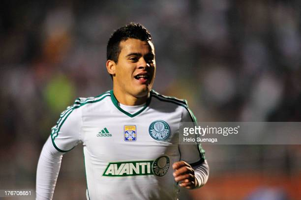 Mendieta of Palmeiras celebrates a scored goal during a match between Palmeiras and Paysandu as part of the Brazilian Championship Serie B 2013 at...