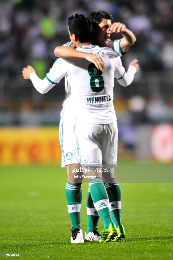 Mendieta of Palmeiras celebrates a scored goal during a match between Palmeiras and Paysandu as part of the Brazilian Championship Serie B 2013 at Pacaembu Stadium on August 17, 2013 in Sao Paulo, Brazil.