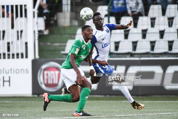 Mendy Formose of Red Star and Pape Sane of Auxerre during the first round of French League Cup match between Red Star and AJ Auxerre on August 8 2017...