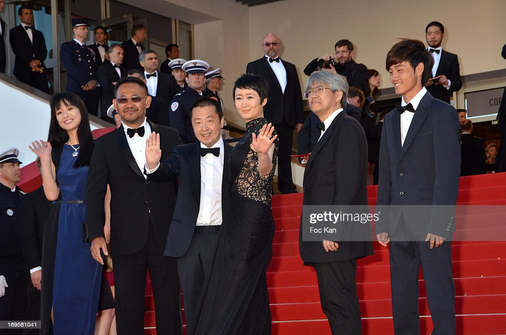 Meng Li, Jiang Wu, director Jia Zhangke, Tao Zhao, producer Shozo Ichiyama and Lanshan Luo attend the 'Zulu' Premiere and Closing Ceremony during the 66th Annual Cannes Film Festival at the Palais des Festivals on May 26, 2013 in Cannes, France.