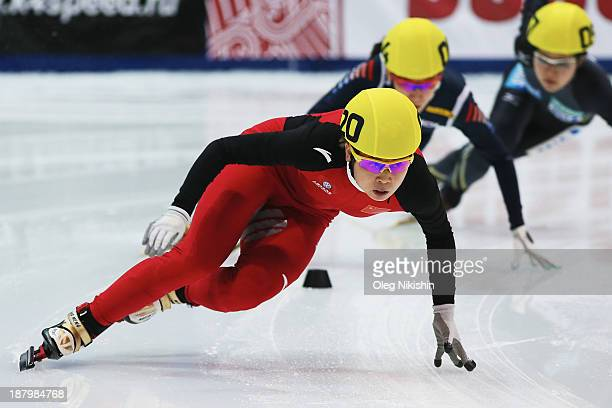 Meng Wang of China leads the group during the Women's 1500m preliminaries during day one of the Samsung ISU Short Track World Cup at the on November...