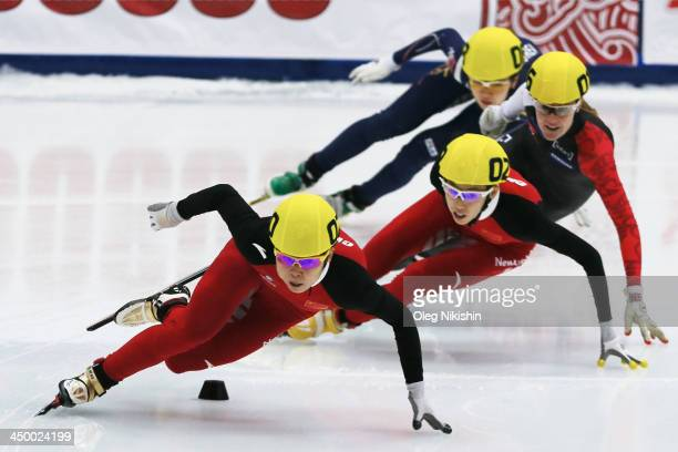 Meng Wang of China leads the group during the Women's 500m Final A during day three of the Samsung ISU Short Track World Cup at the on November 16...