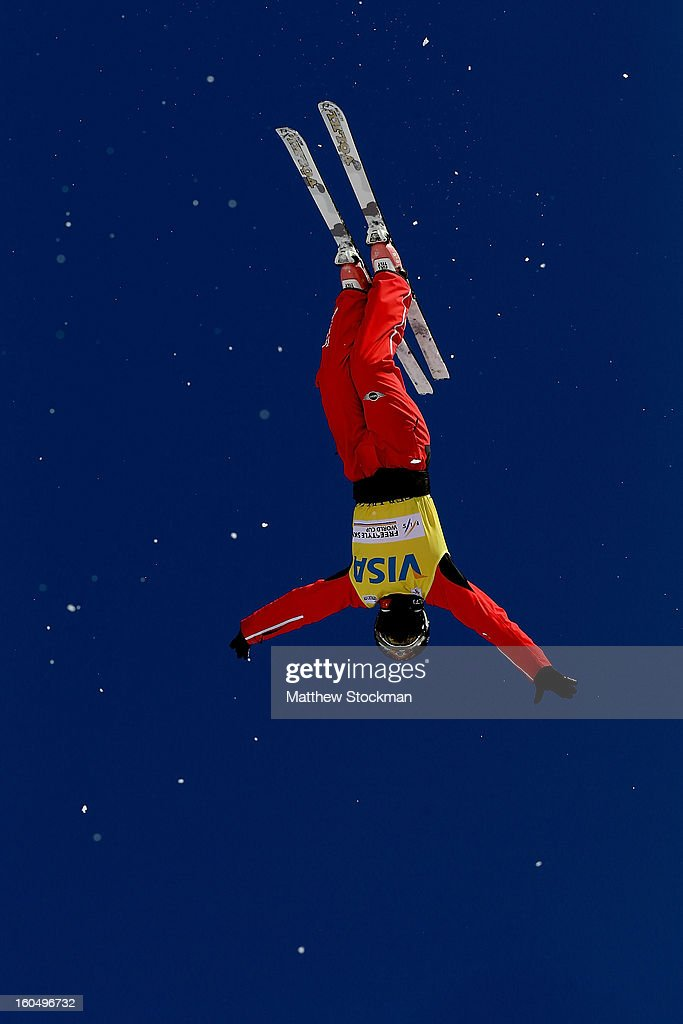 Mengtao Xu #1 of China jumps while training for the Ladies Aerials during the Visa Freestyle International at Deer Valley on February 1, 2013 in Park City, Utah.