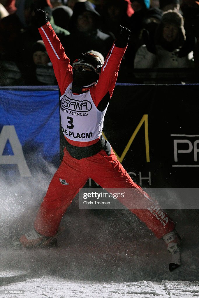 Mengtao Xu of China reacts after jumping in the Womens Aerials Final at the USANA Lake Placid FIS Freestyle Ski World Cup on January 21, 2012 in Lake Placid, New York.