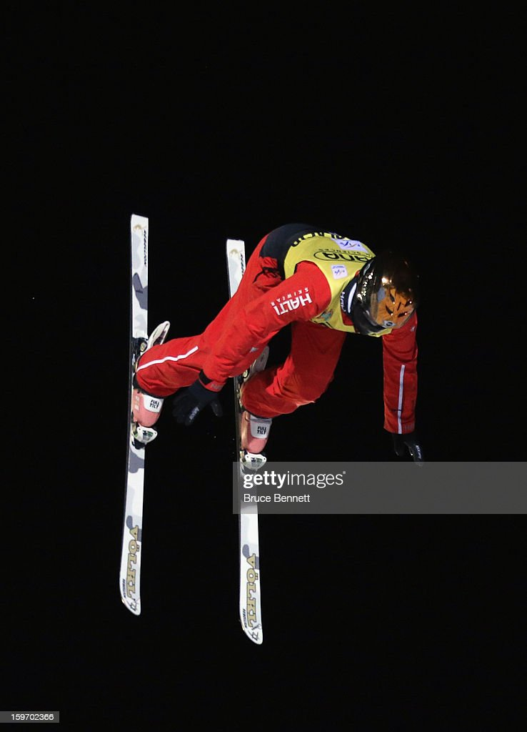 Mengtao Xu #1 of China soars to victory in the USANA Freestyle World Cup aerial competition at the Lake Placid Olympic Jumping Complex on January 18, 2013 in Lake Placid, New York.