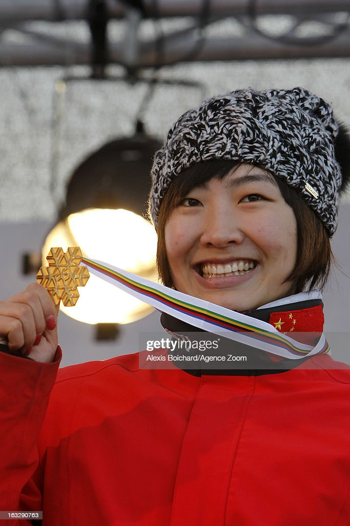 Mengtao Xu of China takes first place during the FIS Freestyle Ski World Championship Men's and Women's Aerials on March 07, 2013 in Voss, Norway.