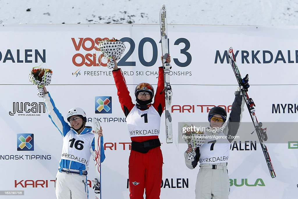 Mengtao Xu of China takes first place, Veronika Korsunova of Russia takes second place, Danielle Scott of Australia takes third place during the FIS Freestyle Ski World Championship Men's and Women's Aerials on March 07, 2013 in Voss, Norway.