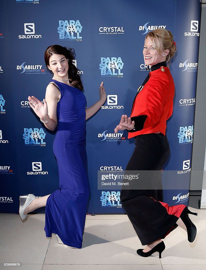Menna Fitzpatrick (L) and Jen Kehoe attend the Disability Snowsport UK ParaSnowBall 2016 sponsored by Crystal Ski Holidays and Salomon, at The Hurlingham Club on April 28, 2016 in London, England.