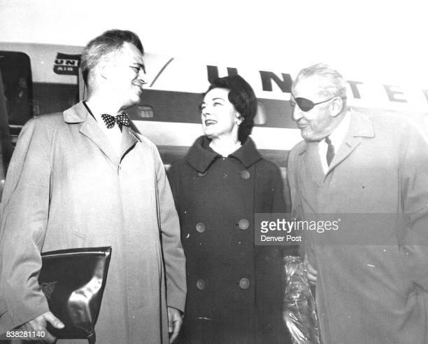 G Mennen Williams Mrs Margaret Price greeted by James Patten NFV president Credit Denver Post