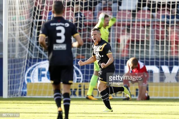 Menno Koch of NAC Breda Giovanni Korte of NAC Breda goalkeeper David Jenssen of FC Utrecht Willem Janssen of FC Utrecht during the Dutch Eredivisie...