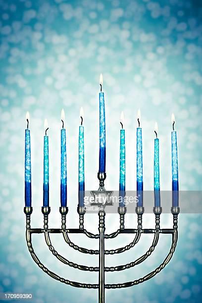 Menorah With Burning Candles