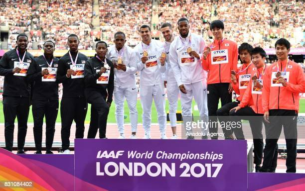 Men's 4x100 Metres Relay Silver medalist team Mike Rodgers Justin Gatlin Jaylen Bacon Christian Coleman of the USA Gold medalist team Chijindu Ujah...