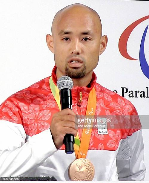 Men's 4x100m Relay T4247 bronze medalist Atsushi Yamamoto of Japan speaks during a Japanese medalists press conference on day 6 of the 2016 Rio...