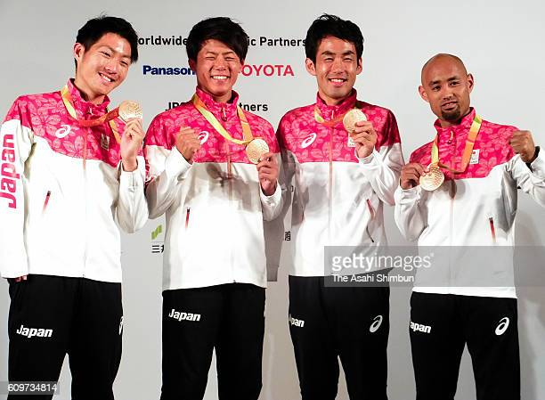 Men's 4x100m Relay T4247 bronze medalists Hajimu Ashida Keita Sato Tomoki Tagawa and Atsushi Yamamoto of Japan pose during a Japanese medalists press...