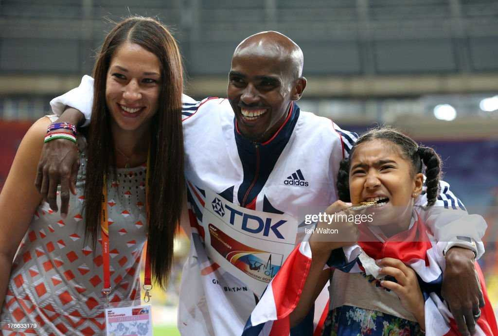 Men's 5000 metres Gold medalist Mo Farah of Great Britain poses with his daughter Rhianna Farah and wife Tania Farah during Day Seven of the 14th IAAF World Athletics Championships Moscow 2013 at Luzhniki Stadium at Luzhniki Stadium on August 16, 2013 in Moscow, Russia.