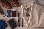 Men's Accessories Organized On The Table