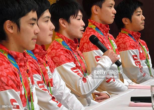 Men's Artistic Gymanstics Team gold medalists Yusuke Tanaka Ryohei Kato Kohei Uchimura Kenzo Shirai and Koji Yamamuro of Japan attend a press...