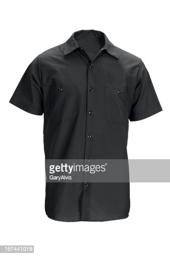 Men's black, short sleeved shirt-isolated on white w/clipping path