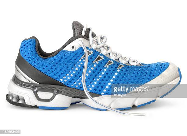 Men's blue, white, black, and gray running sneaker