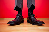 Businessman shoes with short pants (selective and soft focus)