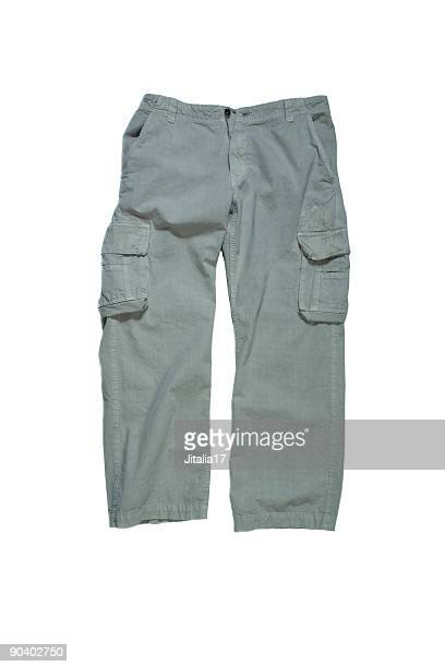 Men's Cargo Pants - Stone Colored on White Background
