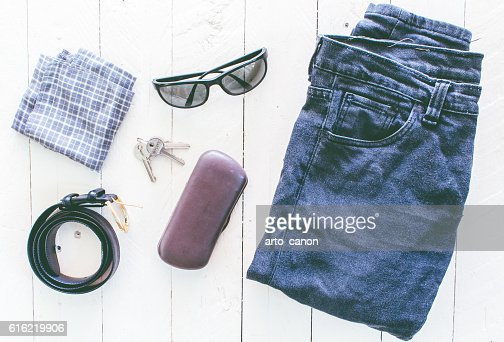 Men's casual outfits on wooden background : Stock Photo