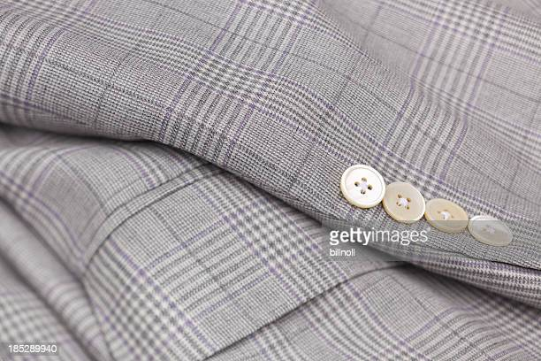 Mens checked grey wool suit detail