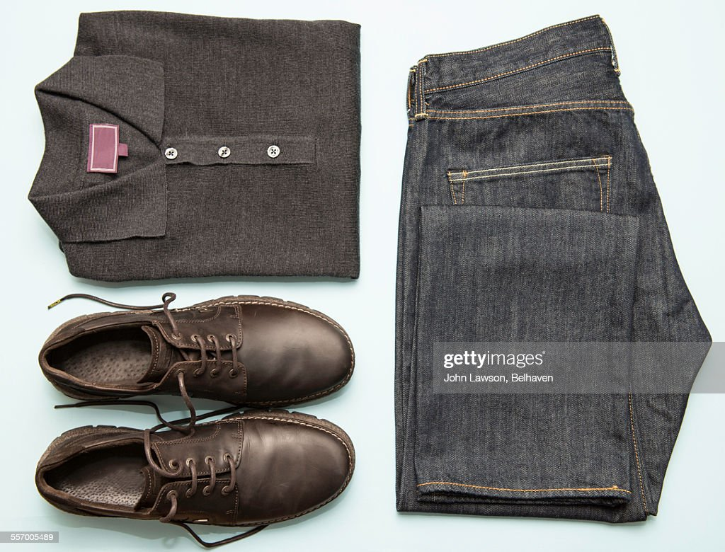 Mens' clothes neatly organised : Foto stock