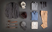 men's clothes isolated on gray background( with clipping path)