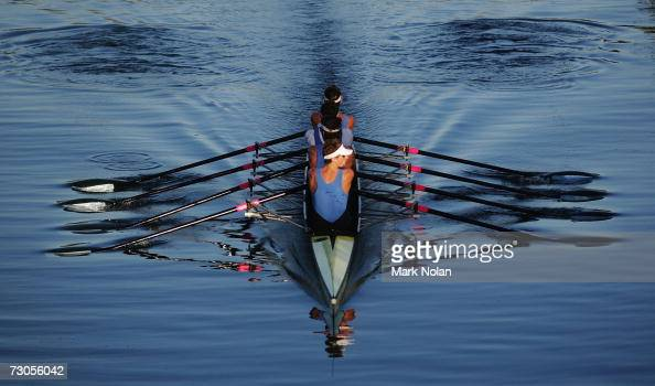 A mens coxless four crew makes its way to the start during the Rowing competition of the 2007 Australian Youth Olympic Festival at the Sydney...