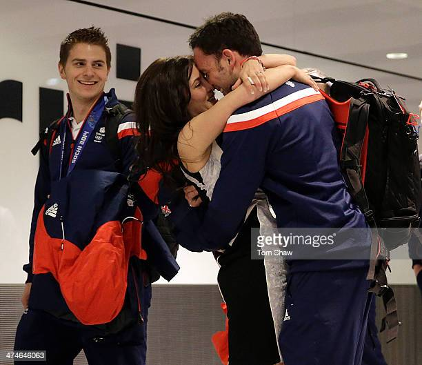 Men's Curling Silver medalist David Murdoch is greeted by his wife Stephanie Murdoch during the Team GB Welcome Home Press Conference at Heathrow...