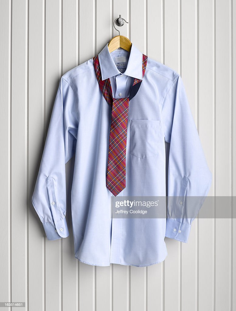 Men's Dress Shirt on Coat Hanger : Stock Photo