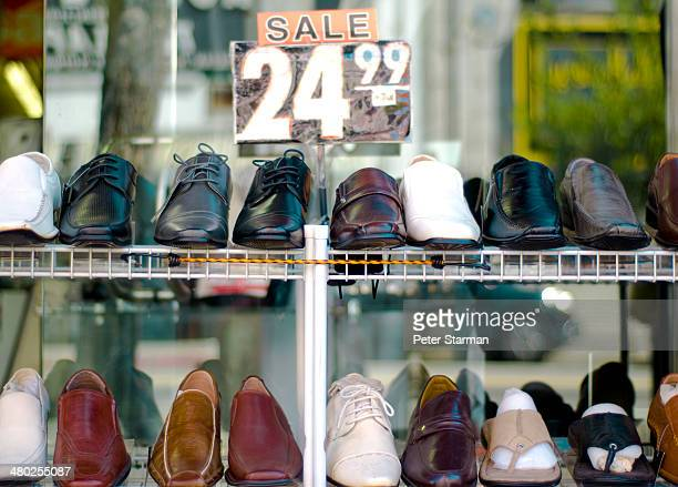 Mens dress shoes on display