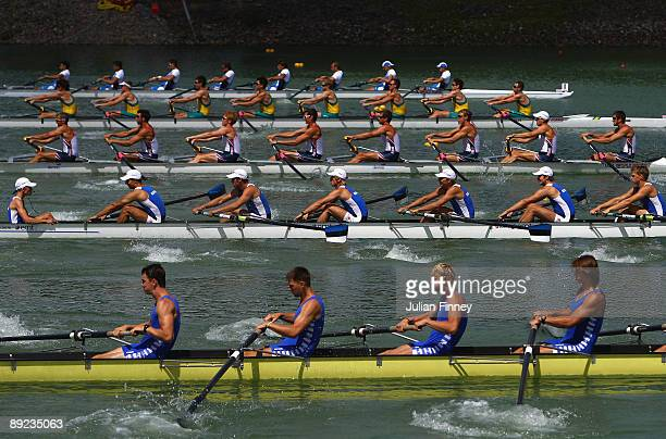 Men's Eight Repechage run begin their race during day two of the FISA World Rowing U23 Championships on July 24 2009 in Roudnice nad Labem Czech...