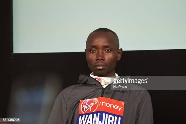 Men's elite winner Kenya's Daniel Wanjiru during a press conference after winning the men's elite race at the London marathon on April 23 2017 in...