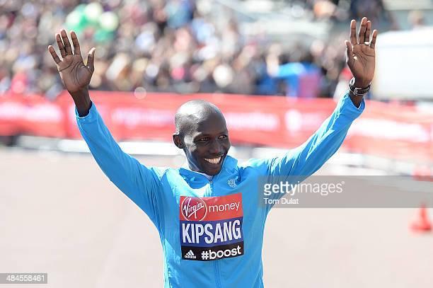 Men's Elite winner Wilson Kipsang of Kenya celebrates after the Virgin Money London Marathon on April 13 2014 in London England