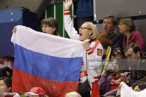 GAMES Men's Figure Skating Short Program Pictured Russian fans cheer on Yevgeny Plushenko Photo by Paul Drinkwater/NBCU Photo Bank