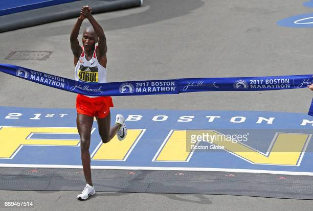 Mens first place runner Geoffrey Kirui crosses the finish line of the 121st Boston Marathon in Boston on Apr 17 2017