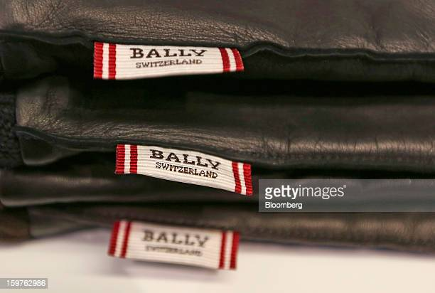 Men's gloves produced by Bally the Swiss luxury brand are seen on display at their store in the town of Davos Switzerland on Saturday Jan 19 2013...
