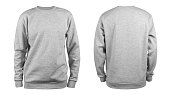 Men's grey blank sweatshirt template,from two sides, natural shape on invisible mannequin, for your design mockup for print, isolated on white background.