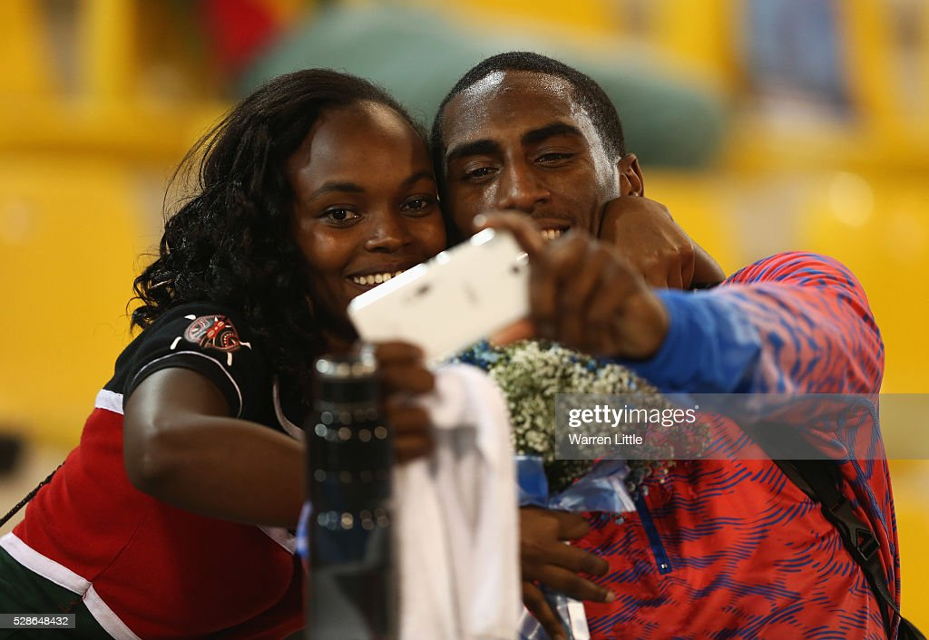 Men's High Jump winner Erik Kynard of the United States poses for a selfie photograph during the Doha IAAF Diamond League 2016 meeting at Qatar Sports Club on May 6, 2016 in Doha, Qatar.