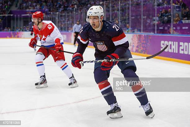GAMES 'Men's Ice Hockey Preliminary Round USA v Russia' Pictured #47 Alexander Radulov of Team Russia #21 James Van Riemsdyk of Team USA during the...