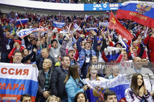 GAMES 'Men's Ice Hockey Preliminary Round USA v Russia' Pictured Russian fans during the Men's Ice Hockey Preliminary Round on February 15 2014...