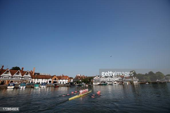 Men's IV from Westminster School head out onto the river on day three of the Henley Royal Regatta on July 5 2013 in HenleyonThames England