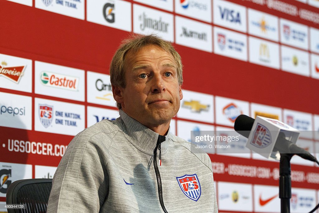 U.S. Men's National Soccer Team Head Coach <a gi-track='captionPersonalityLinkClicked' href=/galleries/search?phrase=Jurgen+Klinsmann&family=editorial&specificpeople=228023 ng-click='$event.stopPropagation()'>Jurgen Klinsmann</a> speaks during a press conference at Stanford University on May 23, 2014 in Palo Alto, California. Klinsmann held the press conference to answer questions about his World Cup roster selections, including the omission of Landon Donovan.